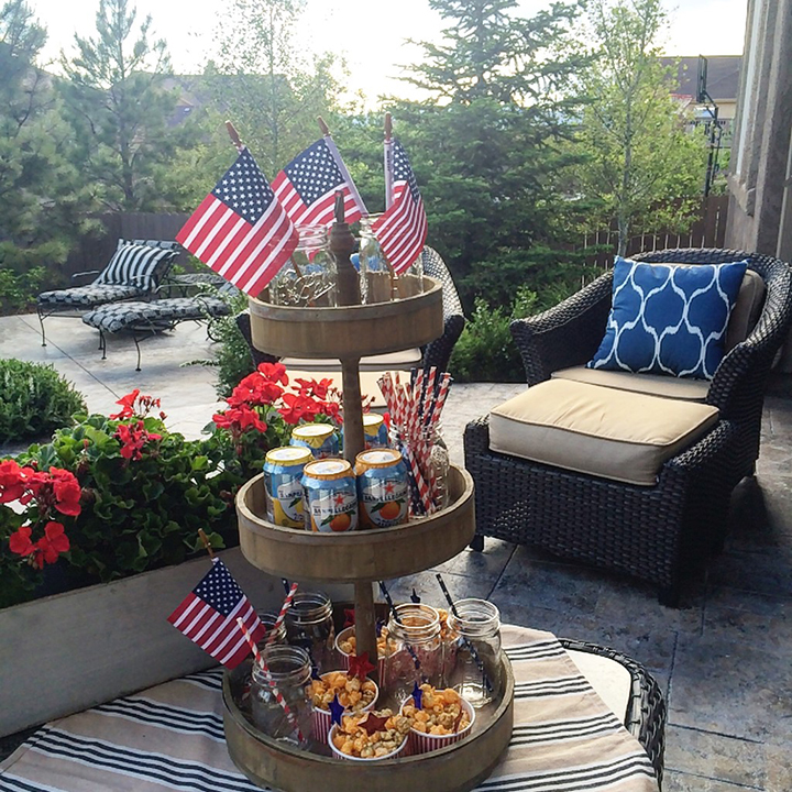 4th of July-three tier tray food display