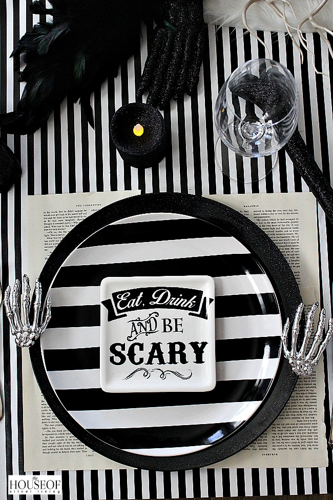 Halloween Table setting black and white