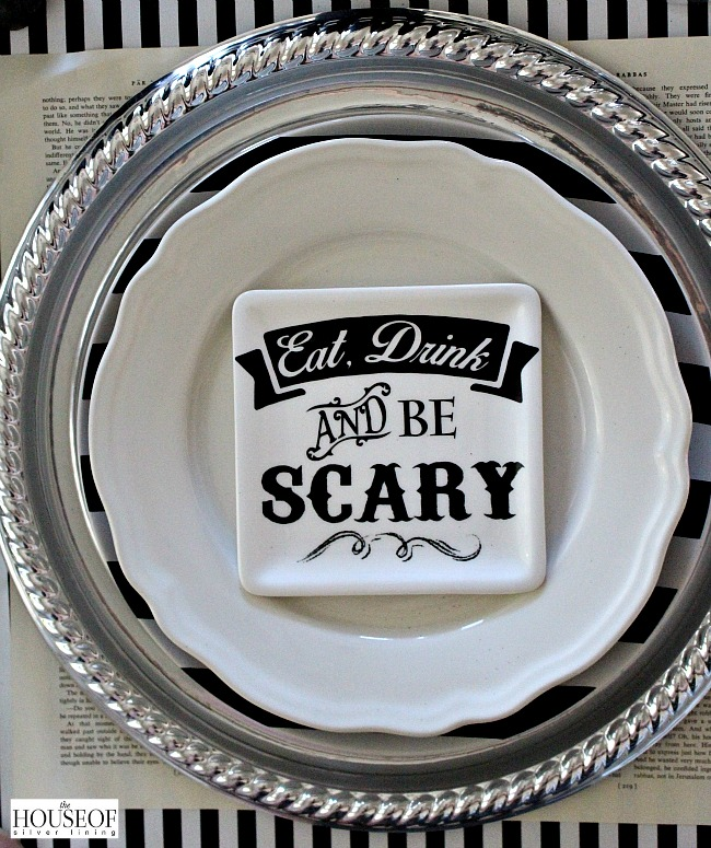 Halloween place setting in black and white