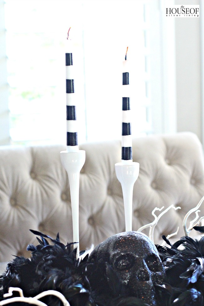 Halloween tablescape with Michaels candles