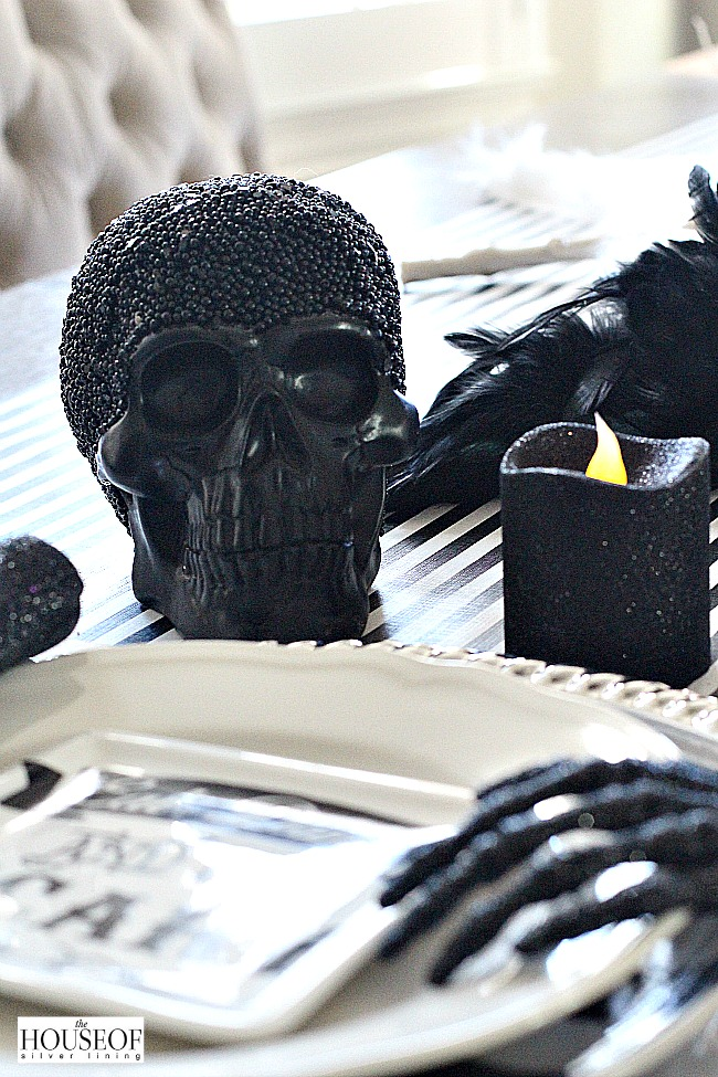 Halloween tablescape with skulls