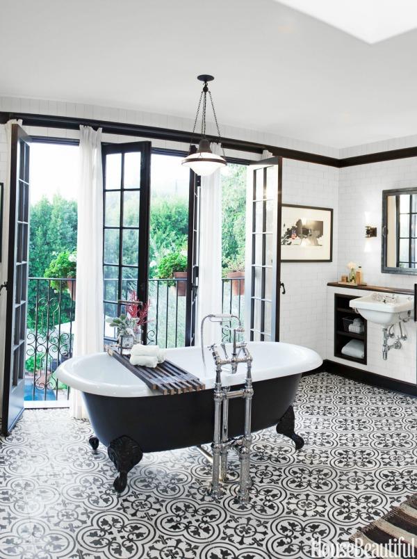 designer bathroom, chic, vintage, cement tile, design tips