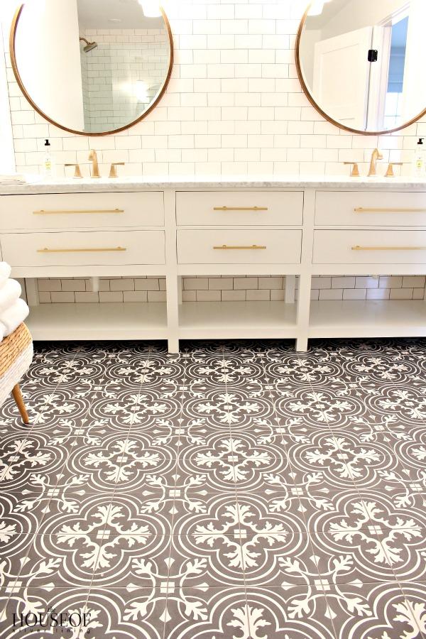 bathroom tile, vintage, cement tile, design ideas, chic