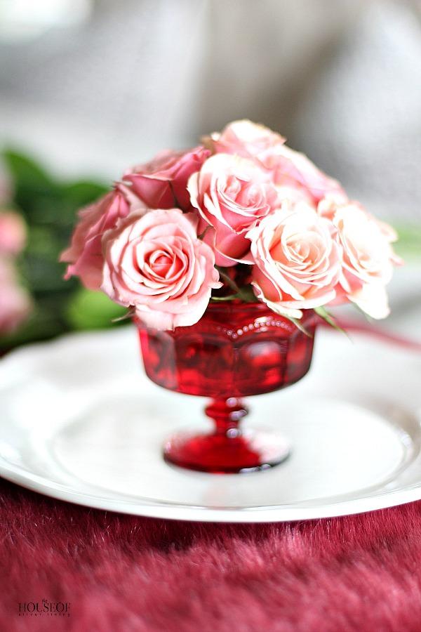 A simple valentines day floral arrangement