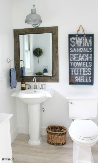 Beach Cottage Powder Bathroom (and pink flamingos)