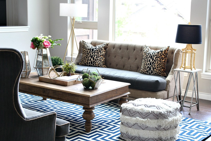 Transitional Living Room Mixing Patterns