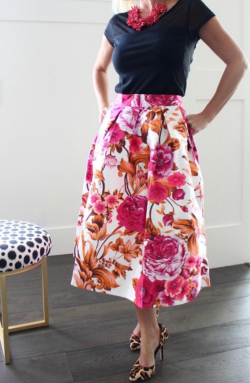 pink-orange-floral-skirt-with-leopard-high-heels