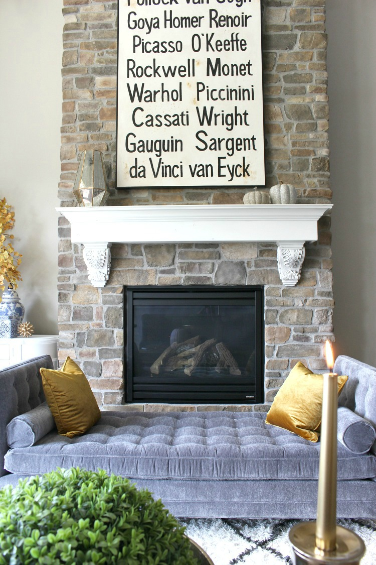Glam Cozy Fall Living Room With Arhaus Clancy