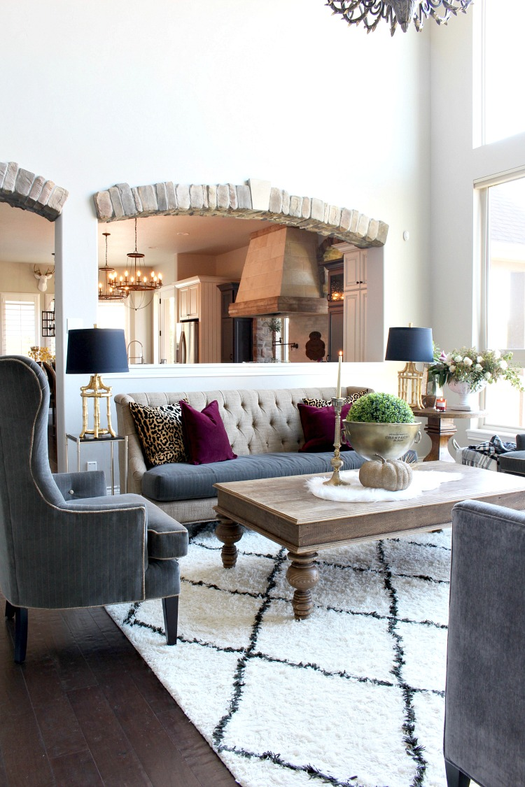 Glam cozy fall living room the house of silver lining for Glam modern living room