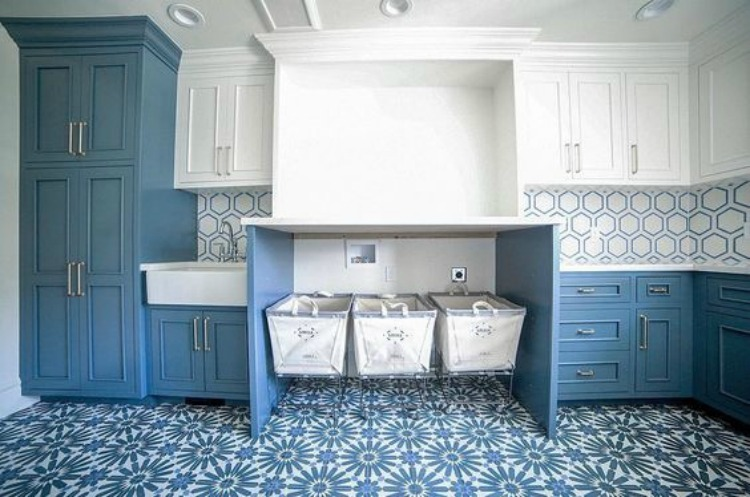 Three design trends i 39 m loving the house of silver lining for Blue and white cement tile