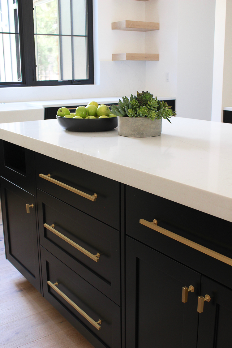Black shaker style inset cabiets with white quartz gold hardware