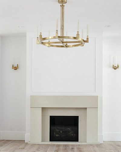 The Forest Modern Living Room Featuring a Gorgeous Cast Stone Limestone Mantel