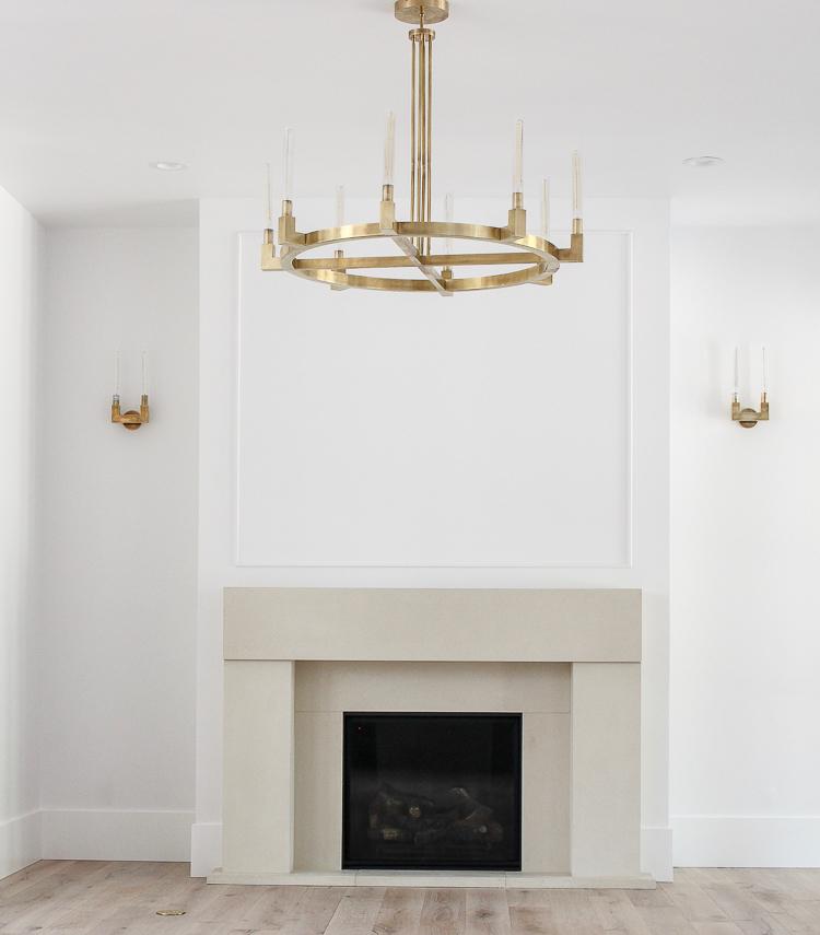 modern refined limestone fireplace mantel