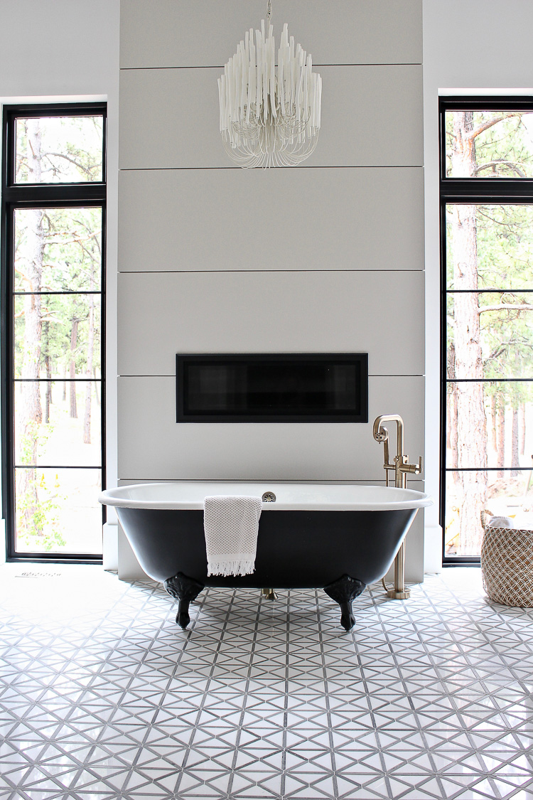 Tilda Chandelier in modern vintage bathroom