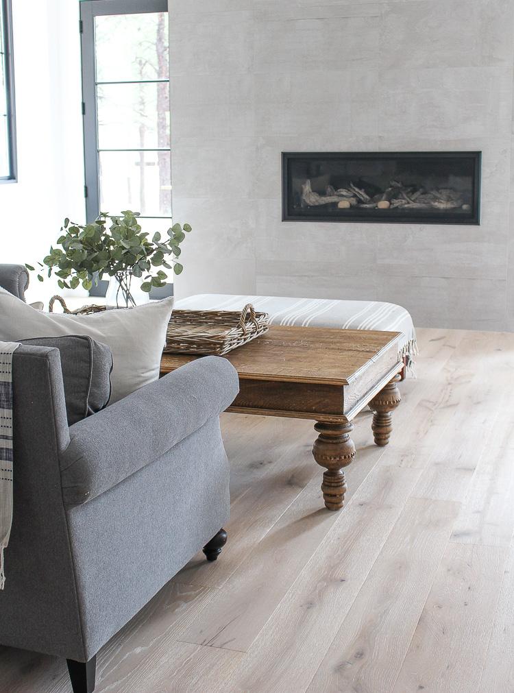 concrete tile modern fireplace