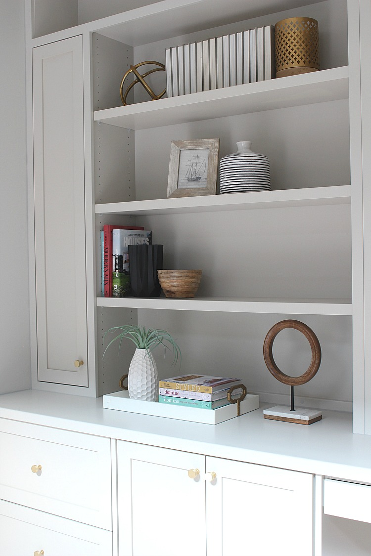 Intentional styling office shelves