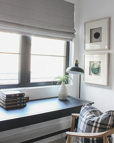 Progress In Our Son's Bedroom: New Roman Shades + Our Favorite Desk