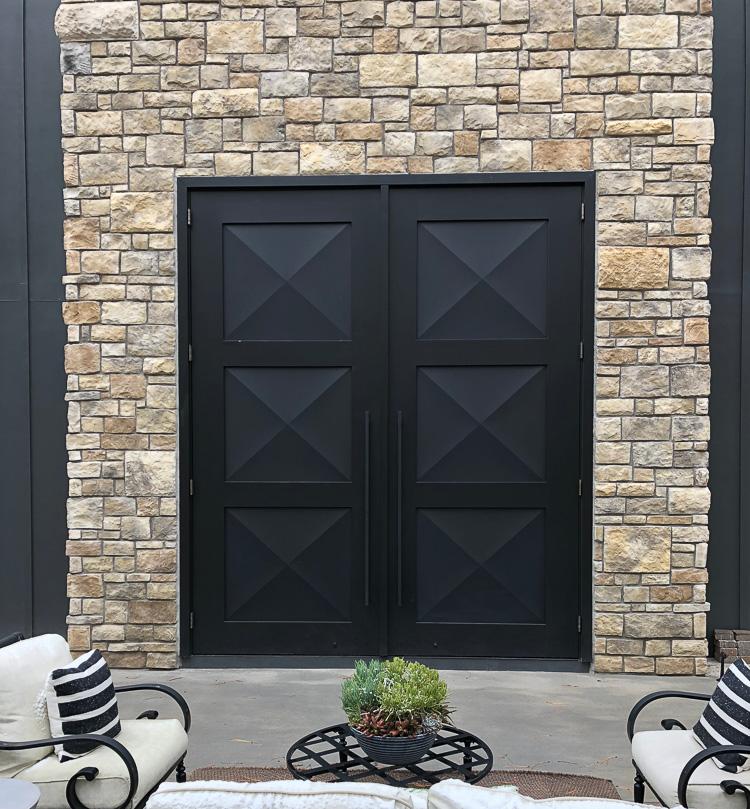 12-foot-steel-wood-barn-doors-modern-stone-house