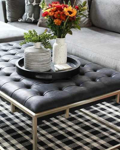 Cozy Fall Family Room With New Tufted Leather Coffee Table