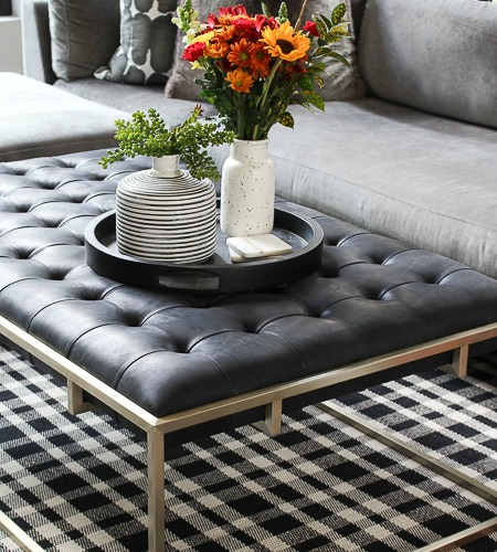 Cozy Fall Family Room With New Tufted Leather Coffee Table The House Of Silver Lining