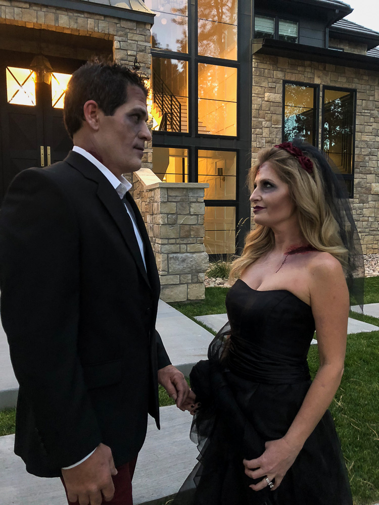 elegant zombie bride and groom halloween
