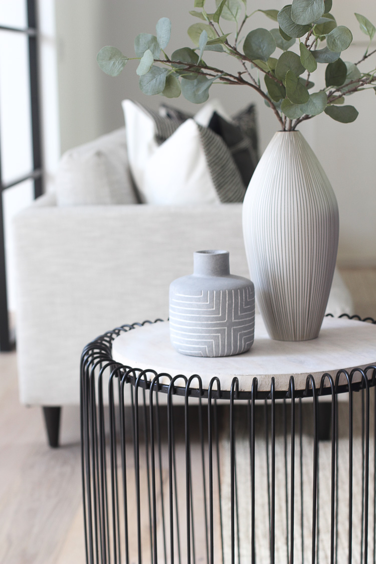 modern neutral coffee table styling accessories