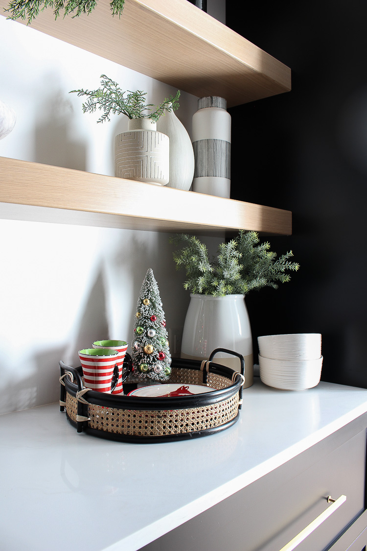 christmas-decorations-butler's-pantry-floating-white-oak-shelves-black-cabinets