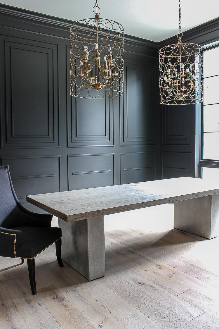 black dining room modern mouldings white oak floors