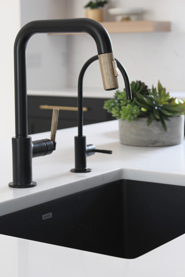 black sink in modern kitchen design