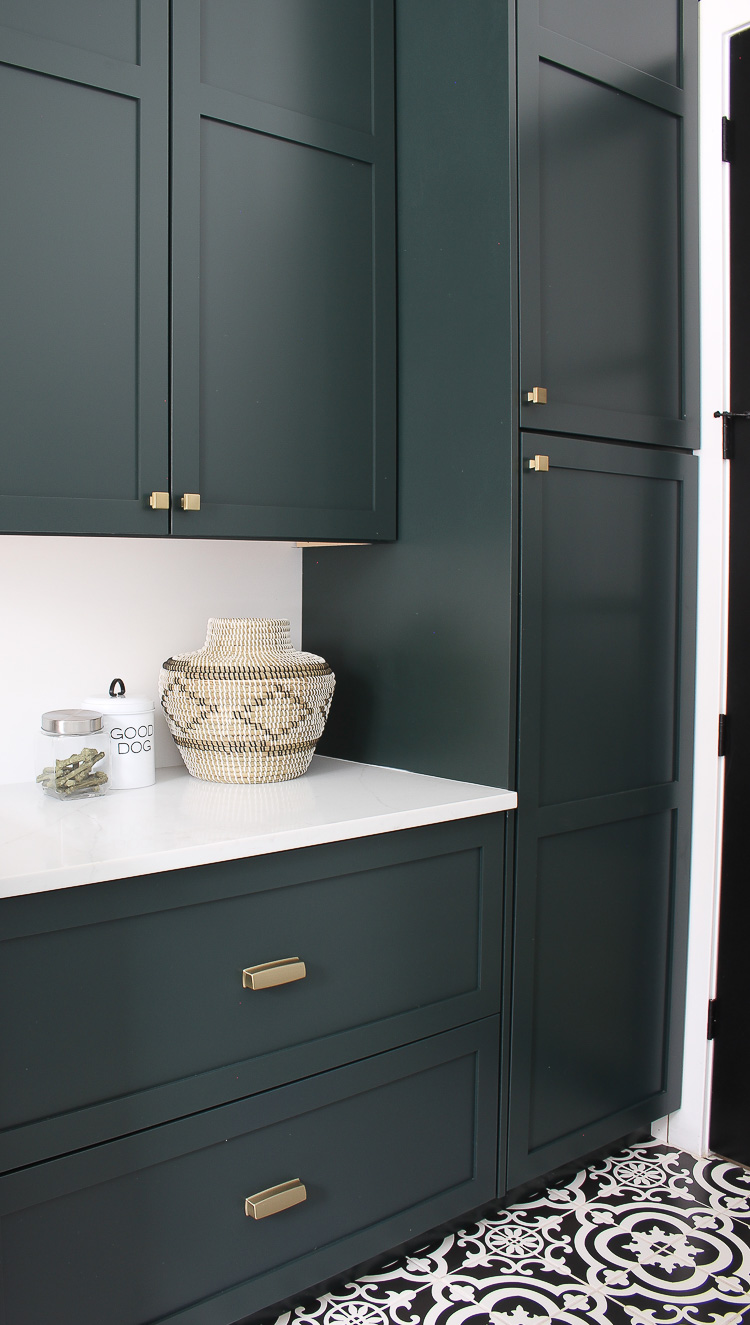The Laundry Dog Room Dark Green Cabinets Layered On
