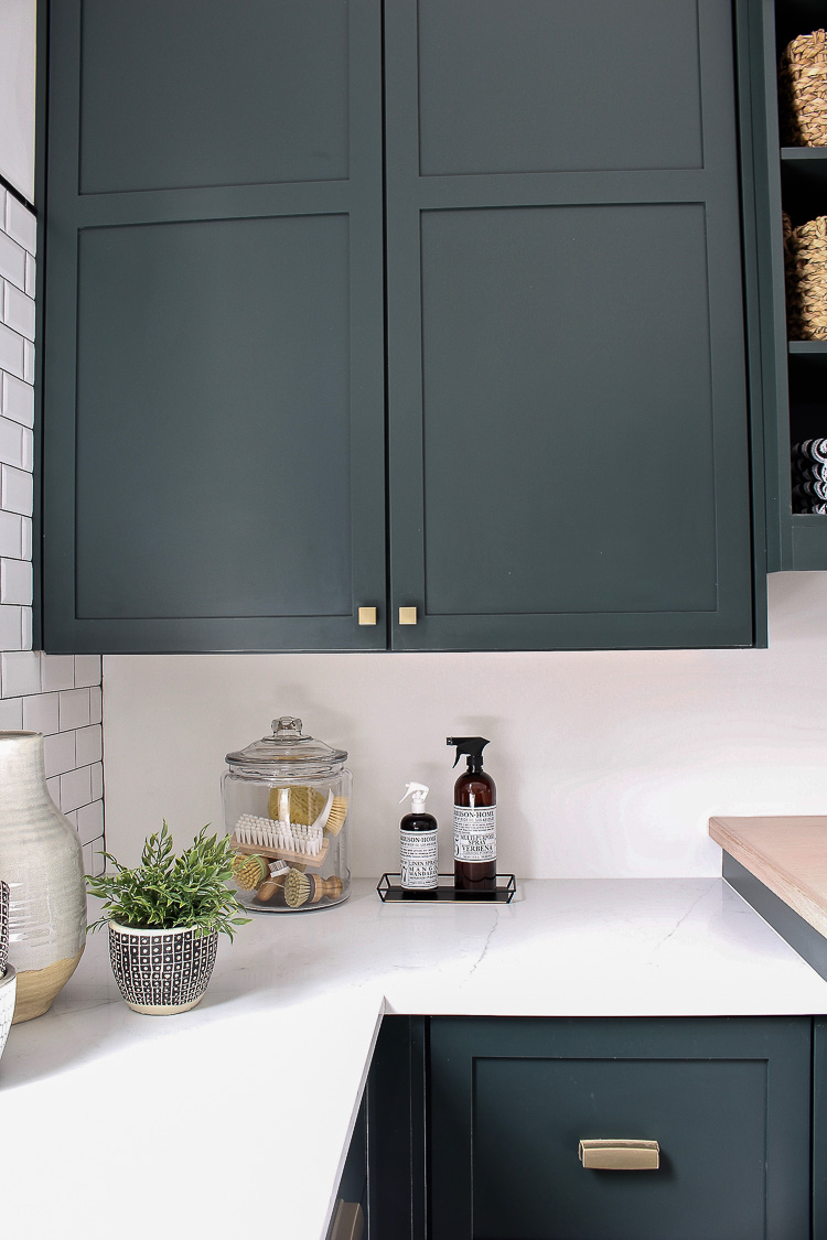 essex deep green pratt & lambert laundry room cabinets