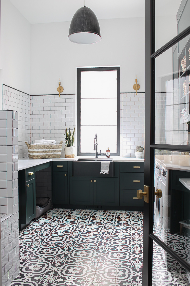 The Laundry Dog Room Dark Green Cabinets Layered On Classic Black White Design The House Of Silver Lining