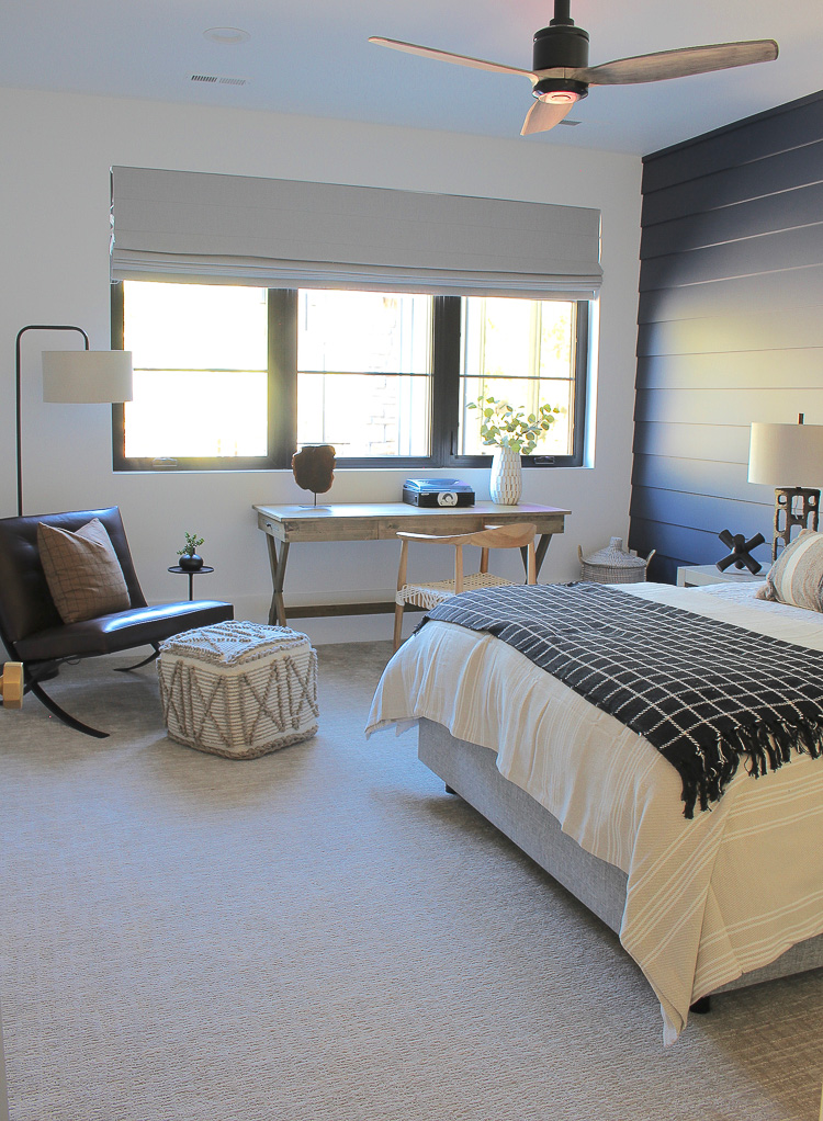 Tailored, cozy, hale navy teen bedroom