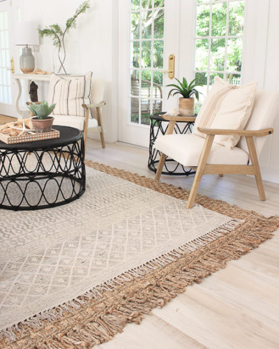 Tips to Layering Neutral Rugs + Beach cottage living room update